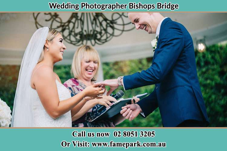 Photo of the Bride wearing the ring to the Groom Bishops Bridge NSW 2326