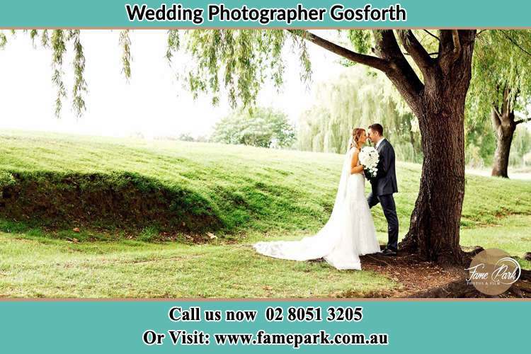 Romantic photo of the Bride and the Groom under the tree Gosforth NSW 2320