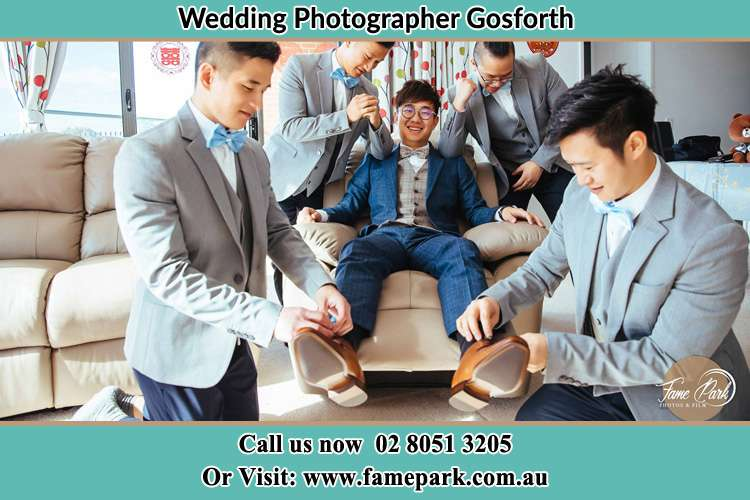 Photo of the Groom with her groom men Gosforth NSW 2320
