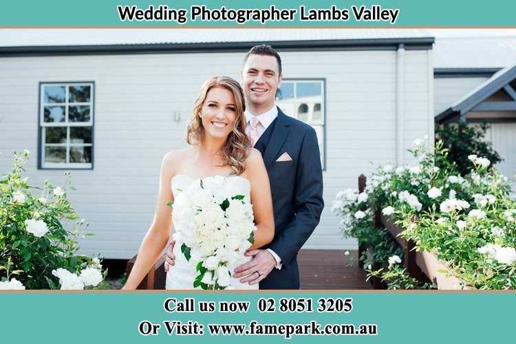Photo of the Bride and the Groom striking a pose to the camera Lambs Valley NSW 2335