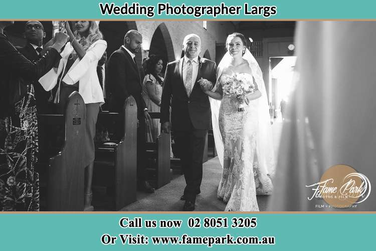 Photo of the Bride with her father walking the aisle Largs NSW 2320