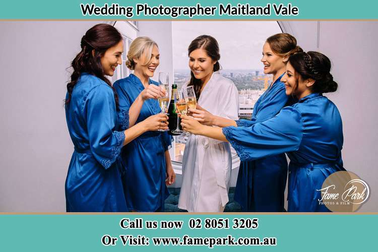 Photo of the Bride with her bridesmaids having wine Maitland Vale NSW 2320